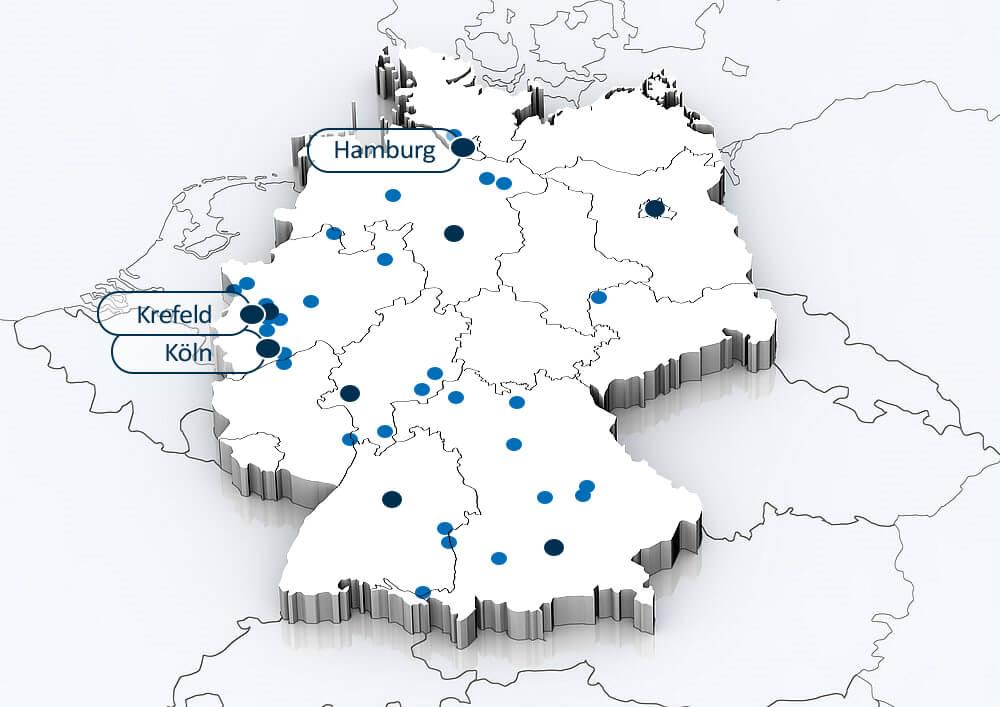 Deutschlandkarte mit Standorten der BLUE